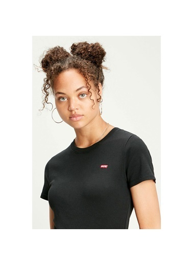 Levi's® 376970014 Rib Baby 3 Bisiklet Yaka Pamuklu Kadın Tshirt Siyah